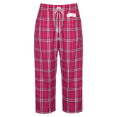 Ladies Dark Fuchsia/White Flannel Pajama Pant-ORU