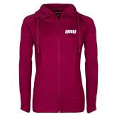 Ladies Sport Wick Stretch Full Zip Deep Berry Jacket-ORU