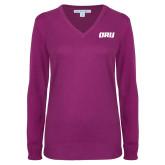 Ladies Deep Berry V Neck Sweater-ORU