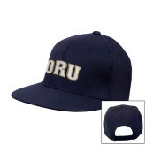 Navy Flat Bill Snapback Hat-ORU