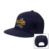 Navy Flat Bill Snapback Hat-Eli