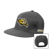 Charcoal Flat Bill Snapback Hat-Golden Eagle Mascot