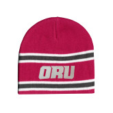 Pink/Charcoal/White Striped Knit Beanie-ORU