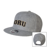 Heather Grey Wool Blend Flat Bill Snapback Hat-ORU