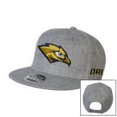 Heather Grey Wool Blend Flat Bill Snapback Hat-Golden Eagle Mascot