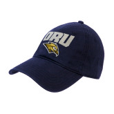 Navy Twill Unstructured Low Profile Hat-ORU w Mascot