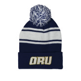 Navy/White Two Tone Knit Pom Beanie with Cuff-ORU
