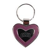 Silver/Pink Heart Key Holder-ORU Engraved