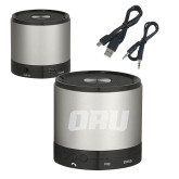 Wireless HD Bluetooth Silver Round Speaker-ORU  Engraved