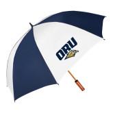 62 Inch Navy/White Vented Umbrella-ORU w Mascot