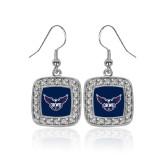 Crystal Studded Square Pendant Silver Dangle Earrings-OKWU Full Eagle