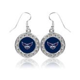 Crystal Studded Round Pendant Silver Dangle Earrings-OKWU Full Eagle