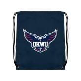 Navy Drawstring Backpack-OKWU Full Eagle