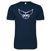 Next Level SoftStyle Navy T Shirt-OKWU Full Eagle
