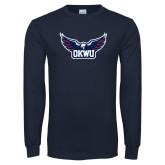 Navy Long Sleeve T Shirt-Half Eagle OKWU