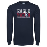 Navy Long Sleeve T Shirt-Eagle Nation