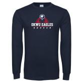 Navy Long Sleeve T Shirt-Soccer Ball