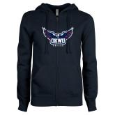 ENZA Ladies Navy Fleece Full Zip Hoodie-Half Eagle OKWU Eagles