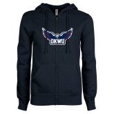 ENZA Ladies Navy Fleece Full Zip Hoodie-Half Eagle OKWU