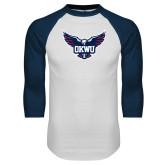 White/Navy Raglan Baseball T Shirt-OKWU Full Eagle