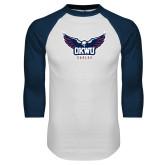 White/Navy Raglan Baseball T Shirt-Half Eagle OKWU Eagles