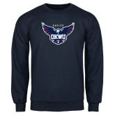 Navy Fleece Crew-Primary Athletics Mark