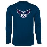 Performance Navy Longsleeve Shirt-OKWU Full Eagle