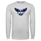 White Long Sleeve T Shirt-OKWU Full Eagle