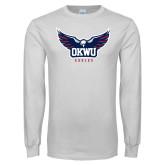 White Long Sleeve T Shirt-Half Eagle OKWU Eagles