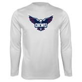 Performance White Longsleeve Shirt-OKWU Full Eagle
