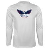 Performance White Longsleeve Shirt-Half Eagle OKWU Eagles