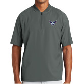 New Era Charcoal Cage Short Sleeve 1/4 Zip-Primary Athletics Mark