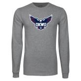 Grey Long Sleeve T Shirt-OKWU Full Eagle