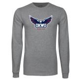 Grey Long Sleeve T Shirt-Half Eagle OKWU Eagles