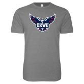 Next Level SoftStyle Heather Grey T Shirt-OKWU Full Eagle