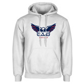 White Fleece Hoodie-Half Eagle OKWU Eagles