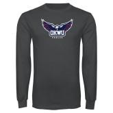 Charcoal Long Sleeve T Shirt-Half Eagle OKWU Eagles