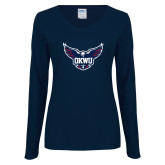 Ladies Navy Long Sleeve V Neck Tee-OKWU Full Eagle