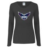 Ladies Dark Heather Long Sleeve V Neck Tee-OKWU Full Eagle