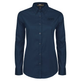 Ladies Navy Twill Button Down Long Sleeve-OKWU Eagles