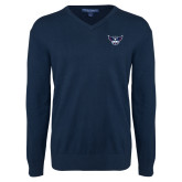 Classic Mens V Neck Navy Sweater-Primary Athletics Mark