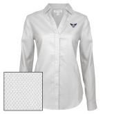 Ladies Red House Diamond Dobby White Long Sleeve Shirt-Primary Athletics Mark