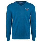 Classic Mens V Neck Moroccan Blue Sweater-Primary Athletics Mark