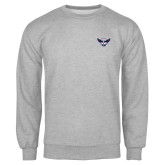 Grey Fleece Crew-Primary Athletics Mark