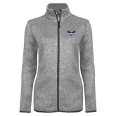 Grey Heather Ladies Fleece Jacket-Primary Athletics Mark