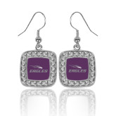 Crystal Studded Square Pendant Silver Dangle Earrings-Eagles with Head