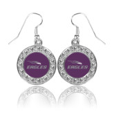 Crystal Studded Round Pendant Silver Dangle Earrings-Eagles with Head