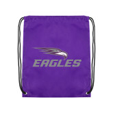 Purple Drawstring Backpack-Eagles with Head