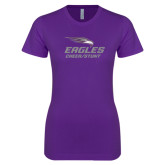 Next Level Ladies SoftStyle Junior Fitted Purple Tee-Cheer and Stunt