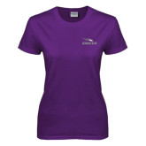 Ladies Purple T Shirt-Eagles with Head